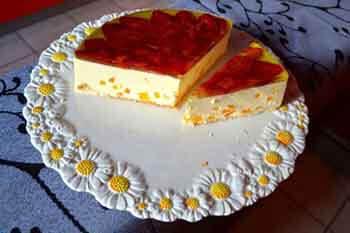 творожный торт с персиком