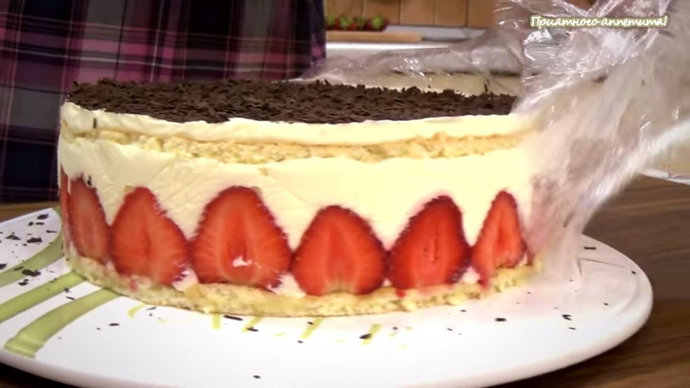 Торт фрезье с клубникой пошагово