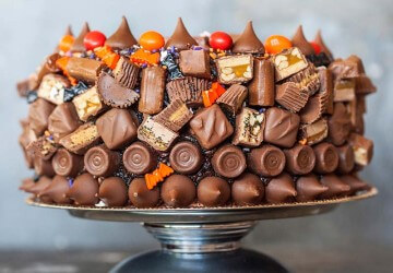 Leftover Halloween Candy Cake