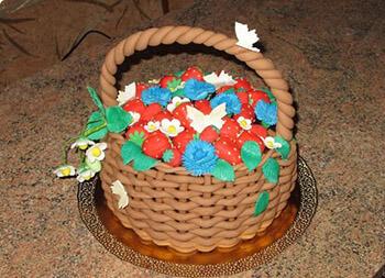готовый торт корзинка из мастики