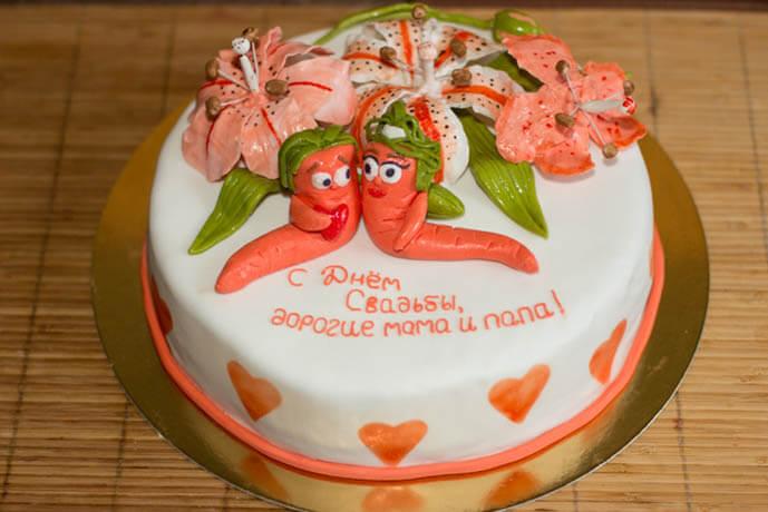 как украсить торт своими руками на годовщину свадьбы
