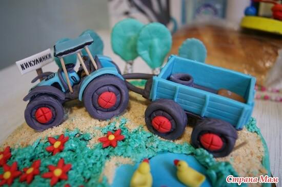 как приготовить трактор из мастики на торт