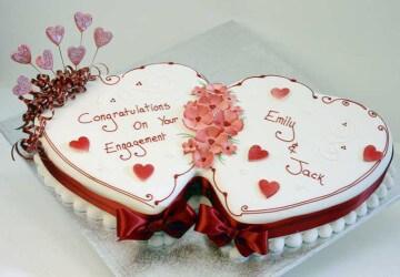 оформление торта двух сердец