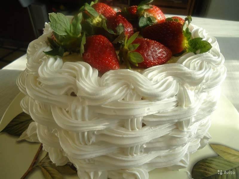 рецепт мокрого безе для украшения тортов