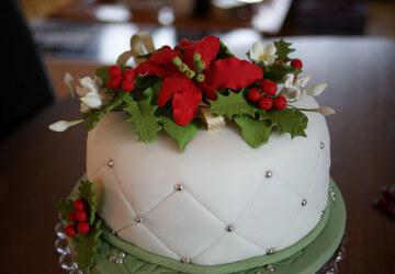 украшаем торт сахарными цветами