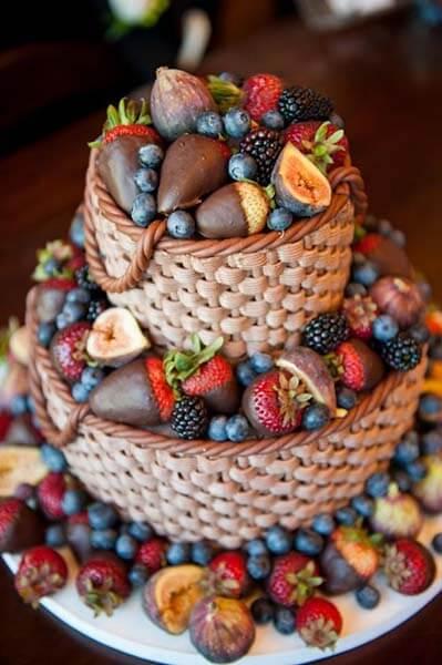 Торты фруктовое украшение