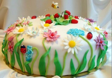детский торт с цветами