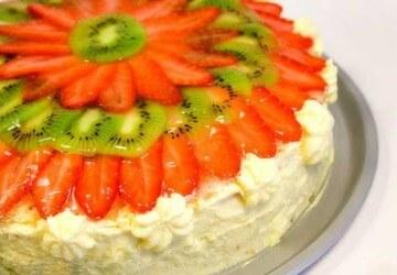 фруктово-творожное декорирование торта