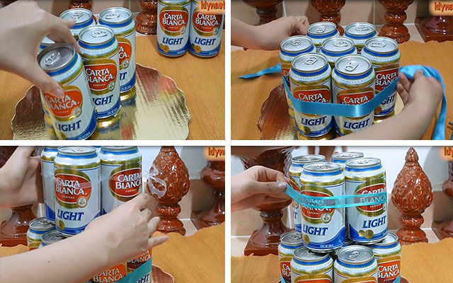 Как сделать торт из банок пива фото