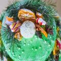 Акварельный расписной торт к Новому году