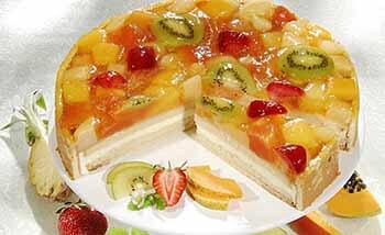 бисквитный торт с фруктовым желе