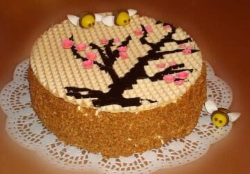 узор на торте из вафли