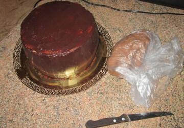 торт корзинка из мастики шаг 1