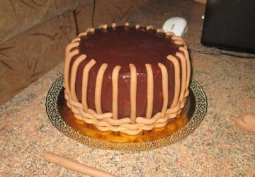 торт корзинка из мастики шаг 8
