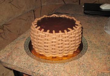 торт корзинка из мастики шаг 9