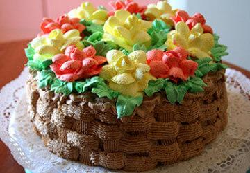 украшение торта корзинка кремом
