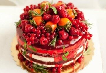 украшение торта фруктами и ягодами4