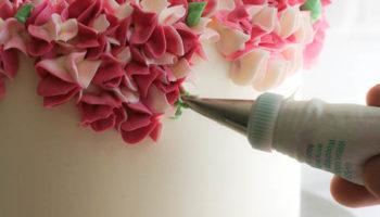 2 украшение торта цветочками из крема