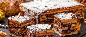 Торт вафельный с орехами и глазурью